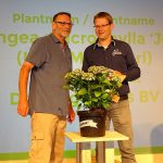Tegoroczna najlepsza nowość roślinna targów Plantarium - Hydrangea macrophylla Lady Mata Hari (z prawej - przedstawiciel firmy De Jong Plants BV, hodowcy tej odmiany