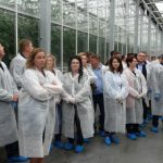 Uczestnicy prezentacji odmian w szklarni państwa Łakomiaków
