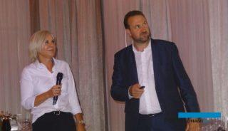 Anna Wojciechowska (De Ruiter) i Kurt Verhelst (Prayon) podczas wykladu w Białej Panieńskiej