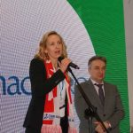 Agata Stolarska (prezes zarządy Timac Agro Polska) oraz dyrektor TSW Jacek Kłudka podczas uroczystego otwarcia targów