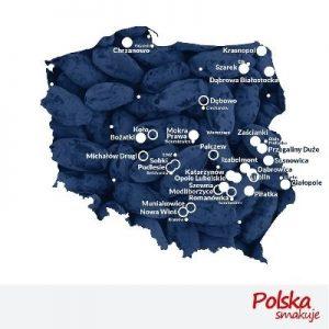 """Mapa plantacji biorących udział w wydarzeniu """"Czerwiec na plantacjach jagody kamczackiej'"""