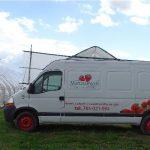 Owoce dostarczane są na giełdę firmowym autem