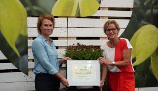 Saskia Janssen (Valkplant) odbiera dyplom i złoty medal za zgłoszoną do konkursu nowości KVBC Summer Challenge tawułę DOUBLE PLAY® DOOZIE®; z prawej Helma van der Louw - prezes KVBC, fot. Plantarium