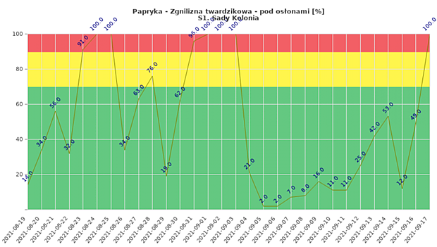 Zagrożenie monitorowanej plantacji papryki uprawianej w tunelu rozwojem zgnilizny twardzikowej (dane od 19 sierpnia do 17 września)